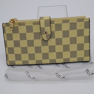Rita Messi Checkered Bi-fold Credit card Wallet